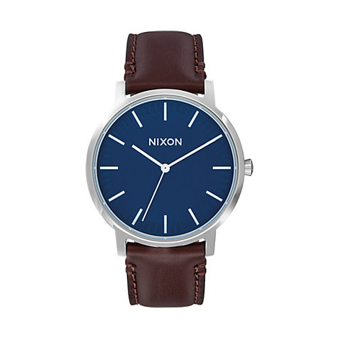 Nixon Herrenuhr Porter Leather Navy A1058-879-00