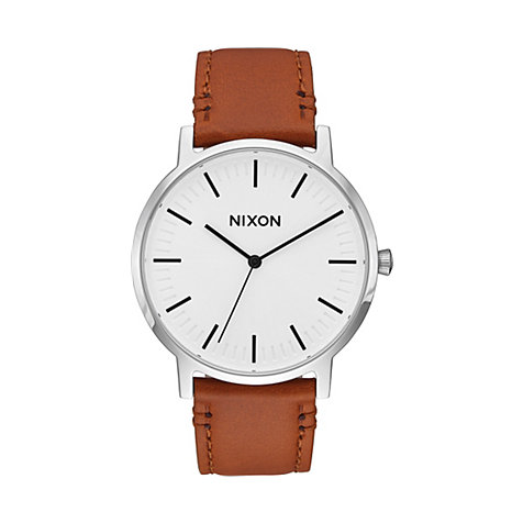 Nixon Herrenuhr Porter Leather White Sunray A1058-2442-00
