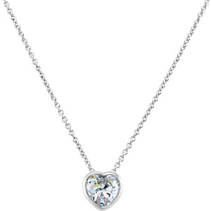 JETTE Silver Collier Solitaire Heart