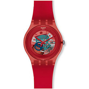 Swatch Herrenuhr Red Lacquered SUOR101