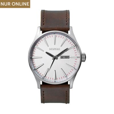 Nixon Herrenuhr Sentry Leather Silver/brown A105 1113