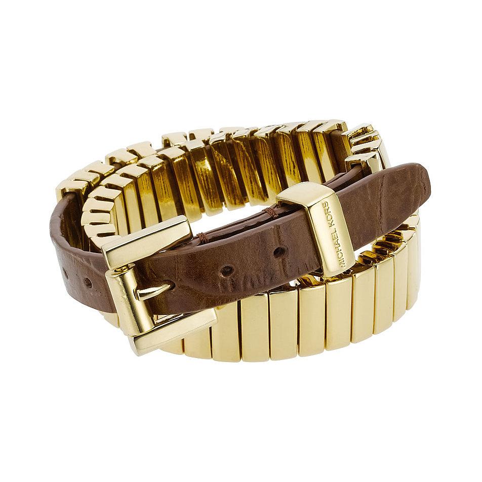 michael kors gold brown croc leather wrap around bracelet. Black Bedroom Furniture Sets. Home Design Ideas
