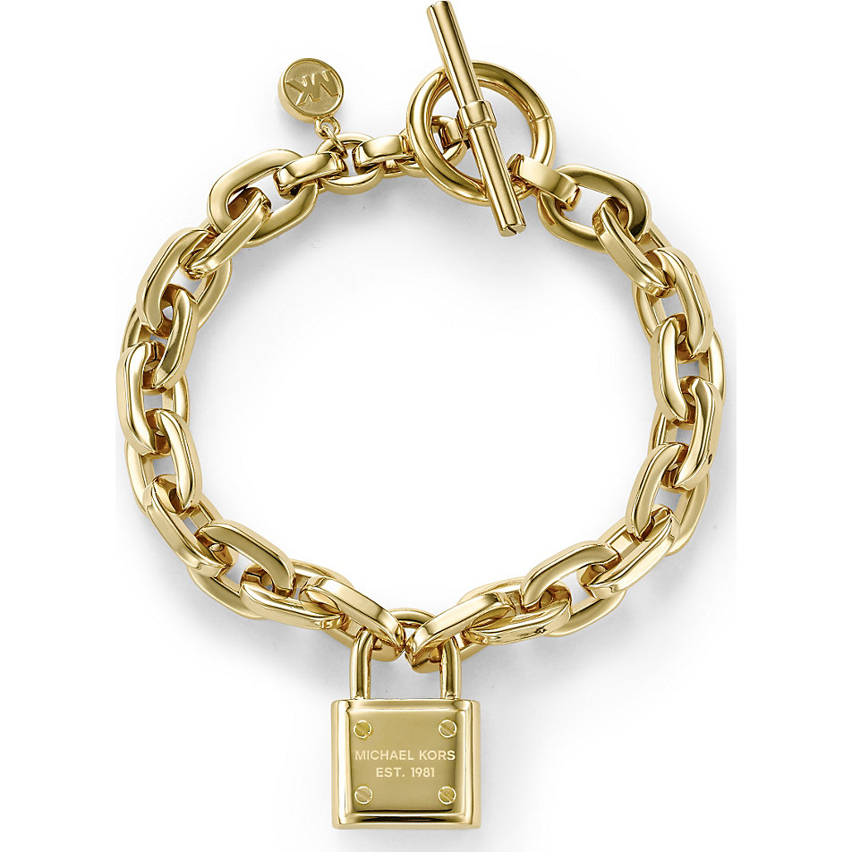 brand new michael kors mkj3311710 mkj3311 gold padlock chain toggle bracelet ebay. Black Bedroom Furniture Sets. Home Design Ideas