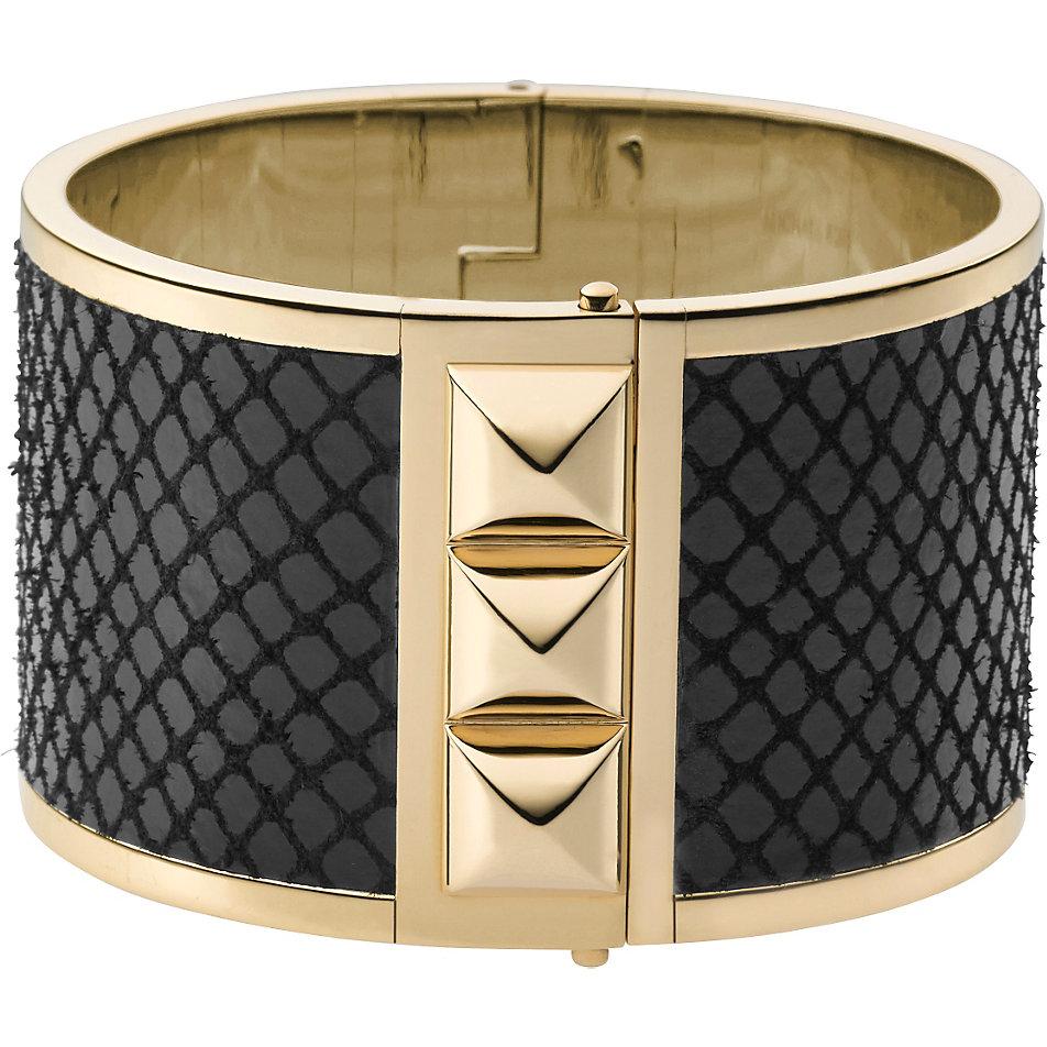 michael kors black python leather gold tone pyramid stud. Black Bedroom Furniture Sets. Home Design Ideas