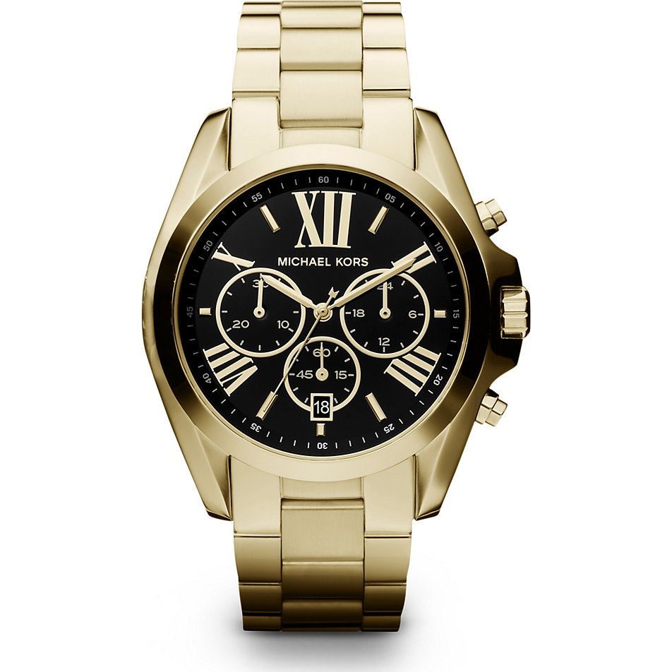 New Michael Kors MK5739 Bradshaw Large Black Dial Gold ...