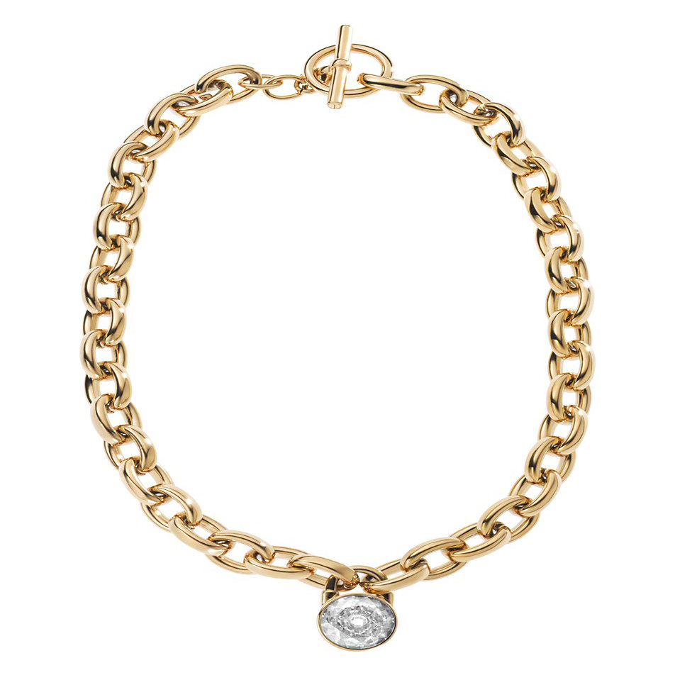 michael kors gold tone large link chain crystal lock