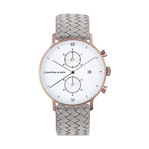 Kapten & Son Chronograph Grey Woven Leather