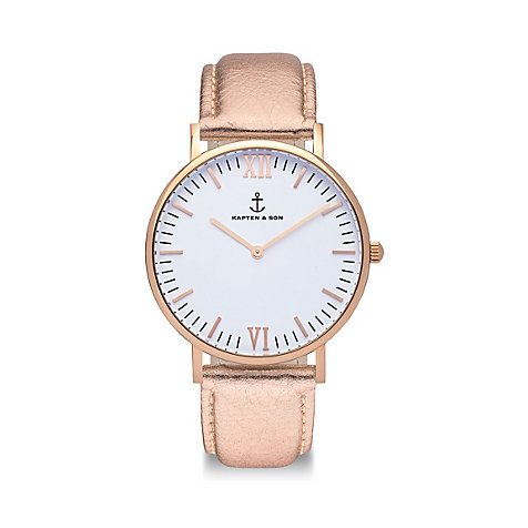 Kapten & Son Herrenuhr Campina/Campus White RG Rose Metallic CB00A1139F01A