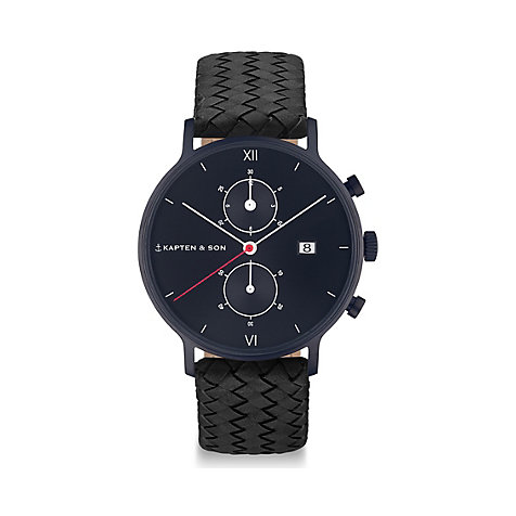 Kapten & Son Chronograph Black Midnight Woven