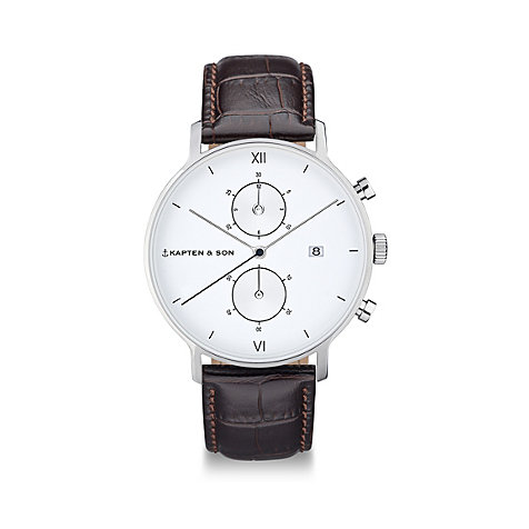 Kapten & Son Herrenuhr Chrono Silver Brown Croco Leather CD03A0303F01A