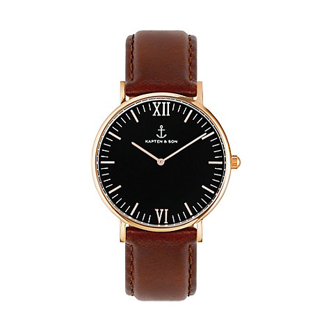Kapten & Son Uhr Campina/Campus Black RG Brown Leather CA00B0103D11A