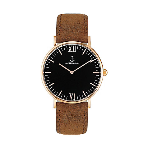 Kapten & Son Uhr Campina/Campus Black RG Brown Vintage