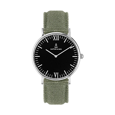 Kapten & Son Uhr Campina/Campus Black Silver Olive Canvas CB03B0606F11A