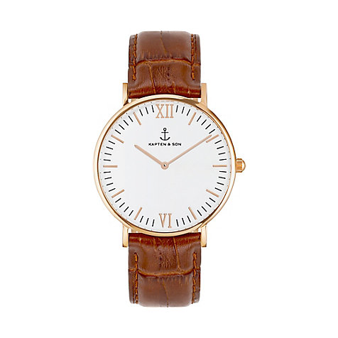 Kapten & Son Uhr Campina/Campus White RG Brown Croco Leather CA00A0303D11A