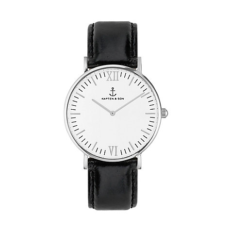 Kapten & Son Uhr Campina/Campus White Silver Black Leather CA03A0199D11A