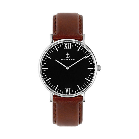 Kapten & Son Uhr Campina/Campus Black Silver Brown Leather CB03B0103F11A