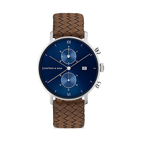 Kapten & Son Unisexuhr Blue Brown Woven Leather CD03C1003F12A