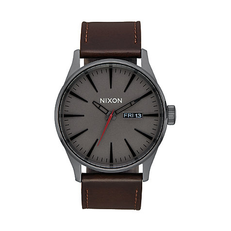 Nixon Unisexuhr Sentry Leather Gunmetal A105-2737-00