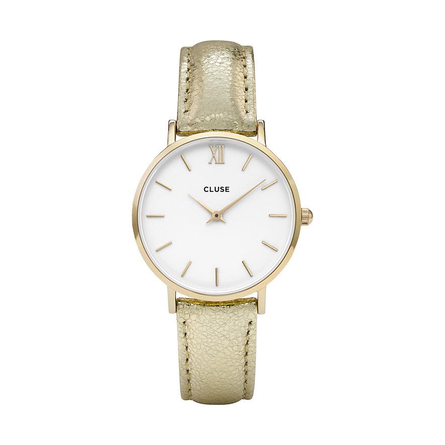 Cluse Damenuhr Minuit Gold White CL30036