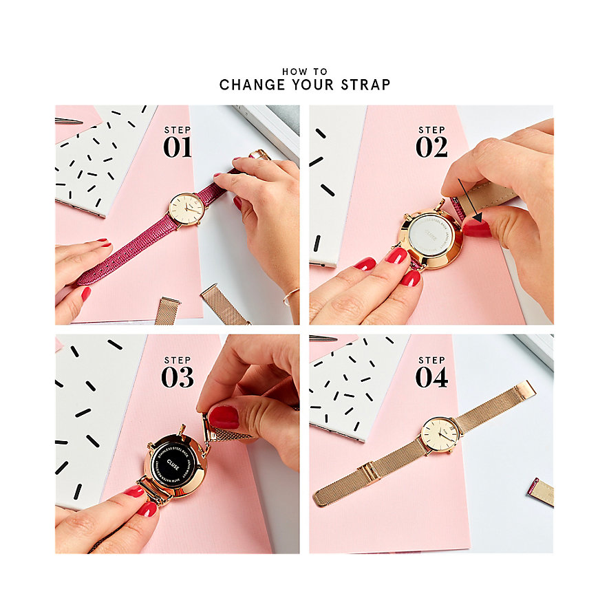 Cluse Wechselband Boho Chic Strap Grey/Rose Gold CLS019