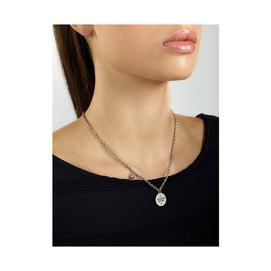 Guess Kette Sngl Logo Charm Crystal