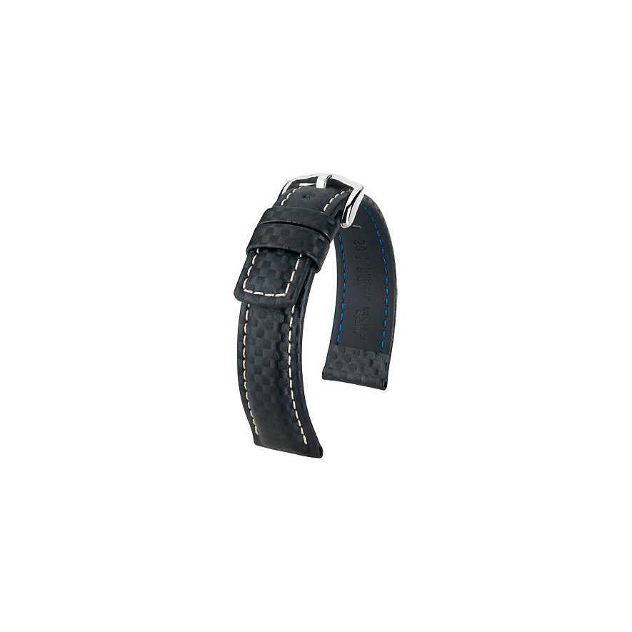 Hirsch Uhrenarmband Leder Carbon 02592050222