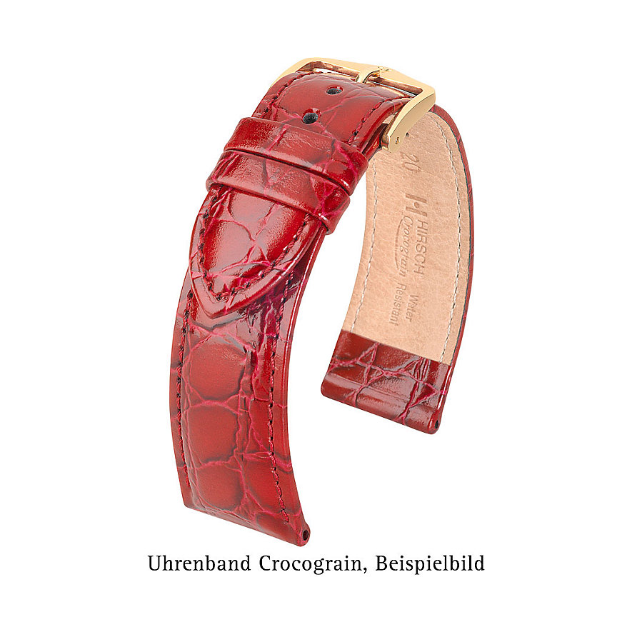 Hirsch Uhrenarmband Leder Crocograin 12302886-1-14