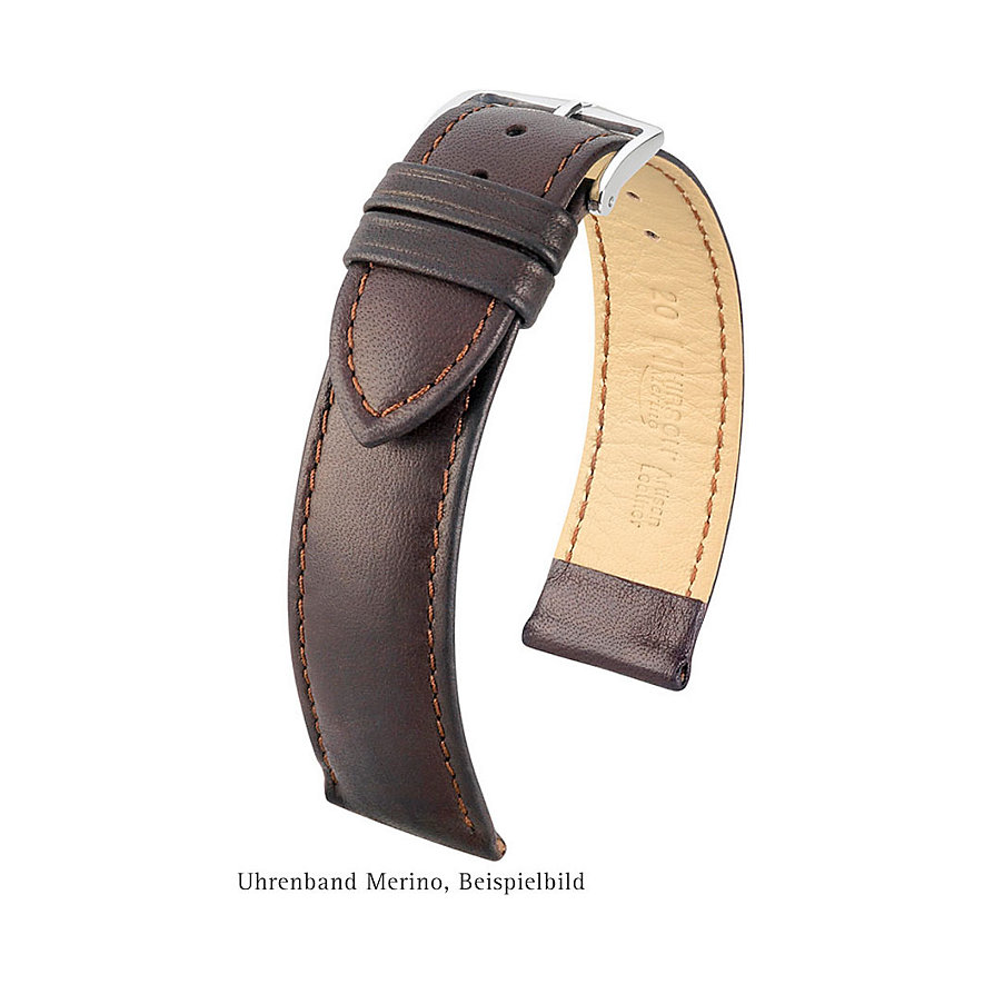 Hirsch Uhrenarmband Leder Merino 01206070218