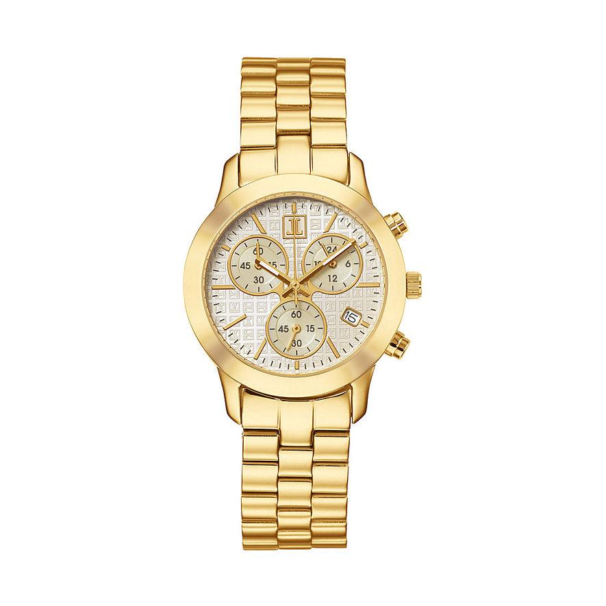 JETTE Time PYRAMID Damenchronograph vergoldet