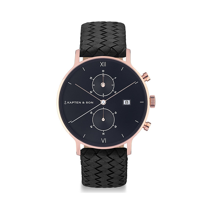 Kapten & Son Chronograph All Black Woven CD00B1099F01A