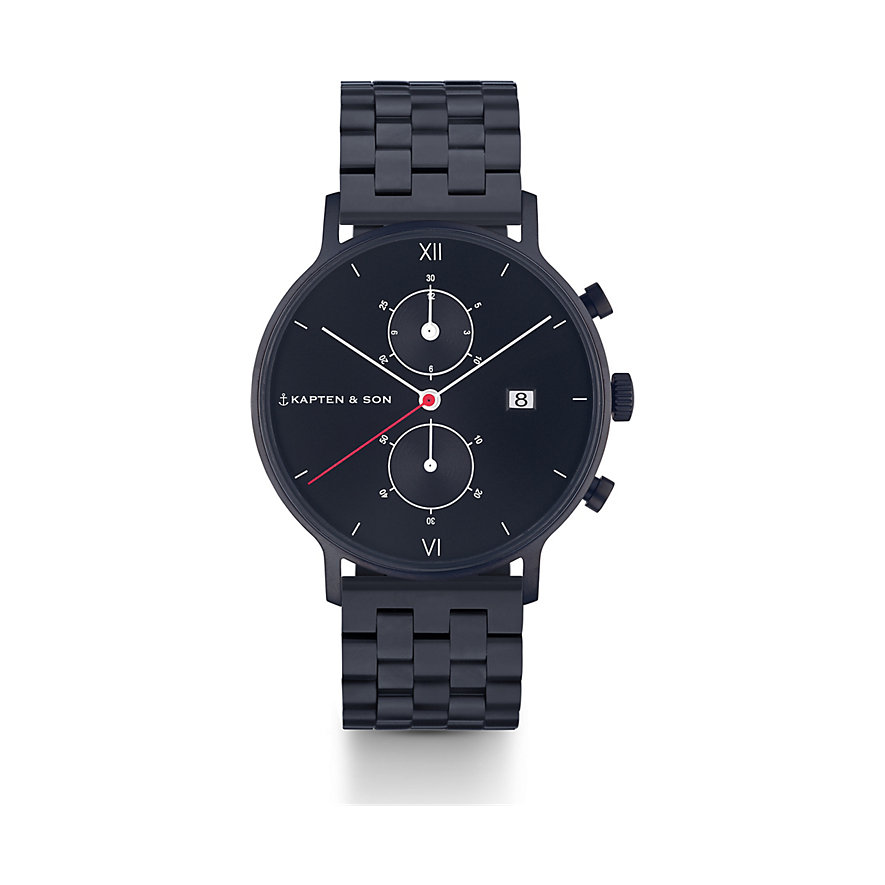 Kapten & Son Chronograph Black Midnight Steel CD07B0833F01A