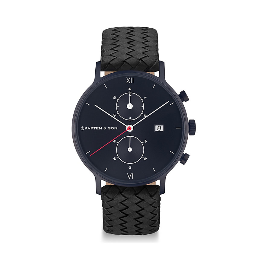 Kapten & Son Chronograph Black Midnight Woven CD07B1099F01A