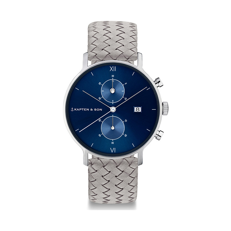 Kapten & Son Chronograph Blue Grey Woven Leather CD03C1002F12A