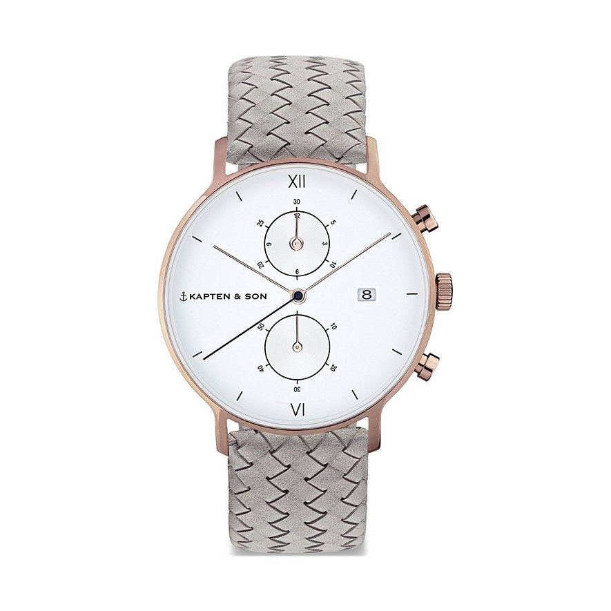 Kapten & Son Chronograph  Grey Woven Leather CD00A1002F22A