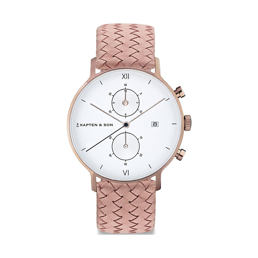 Kapten & Son Chronograph  Rose Woven Leather CD00A1039F22A