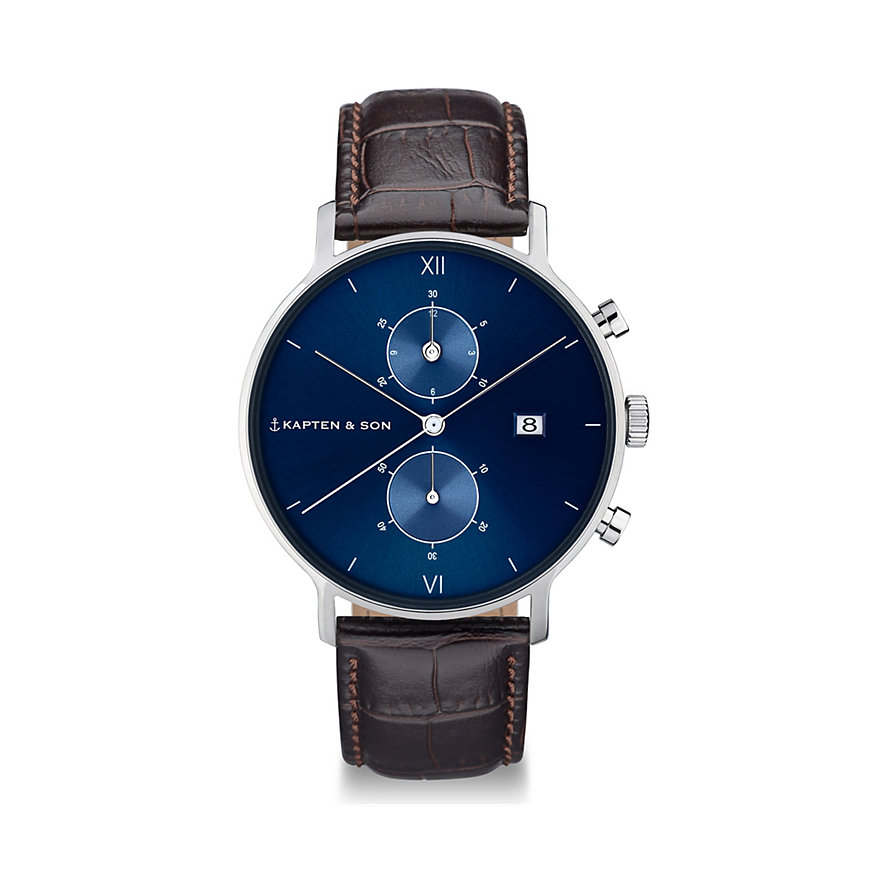 Kapten & Son Chronograph Silver Blue Brown Croco Leather CD03C0303F01A