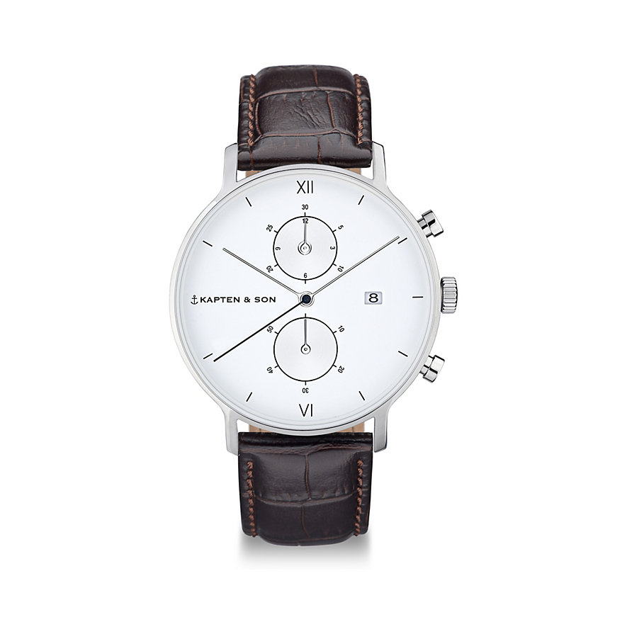 Kapten & Son Chronograph  Silver Brown Croco Leather CD03A0303F01A