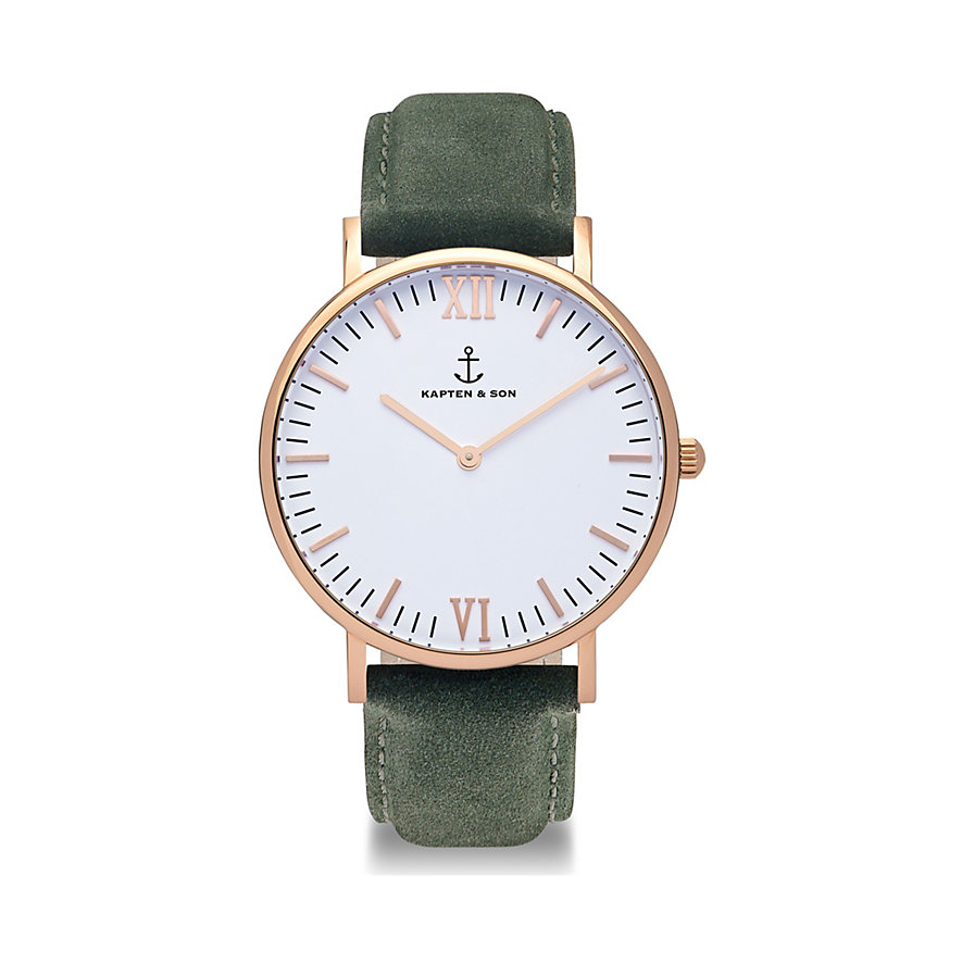 Kapten & Son Herrenuhr Campina White Rg Pine Green Suede Leather CA00A0436D01A