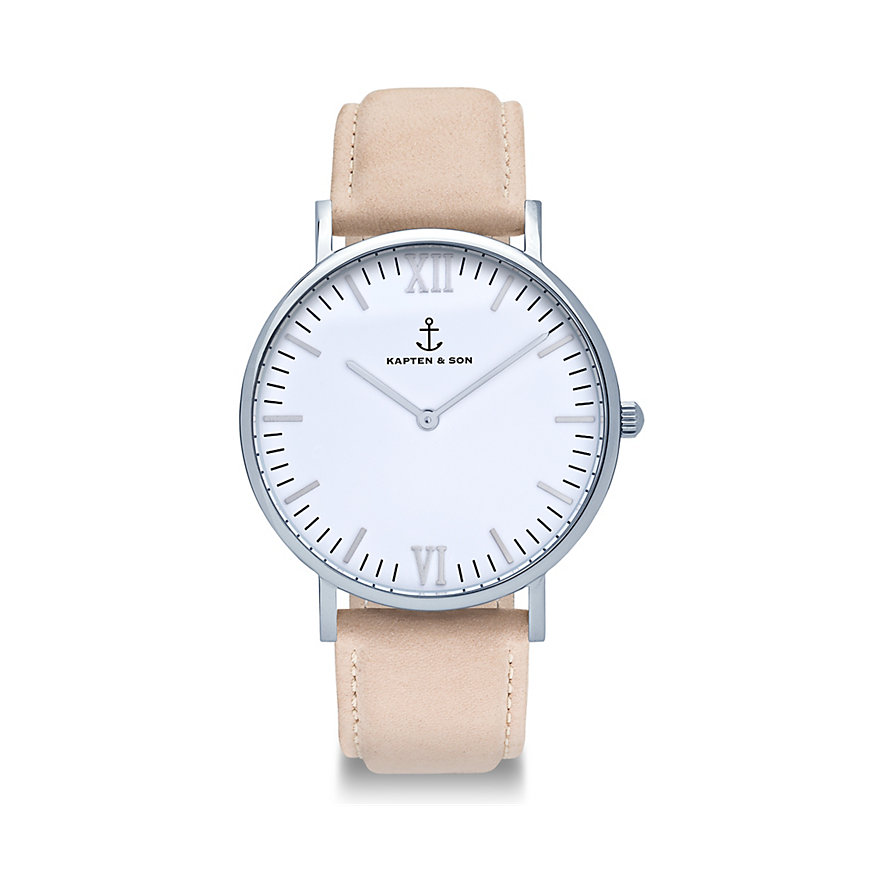 Kapten & Son Herrenuhr Campina White Silver Sand Suede Leather CA03A0537D01A
