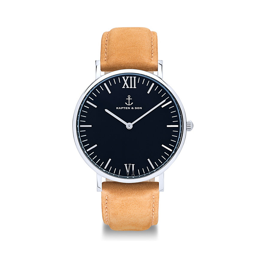 kapten-son-herrenuhr-campus-black-silver-cognac-suede-leather-cb03b0538f01a