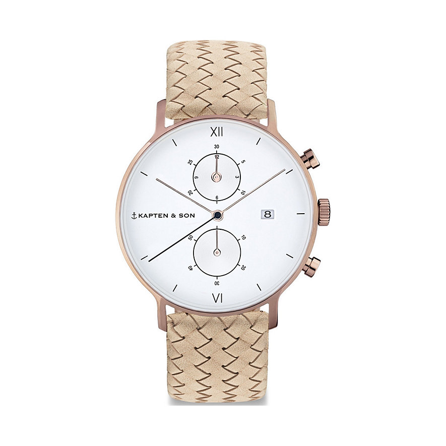 Kapten & Son Herrenuhr Sand Woven Leather CD00A1037F22A