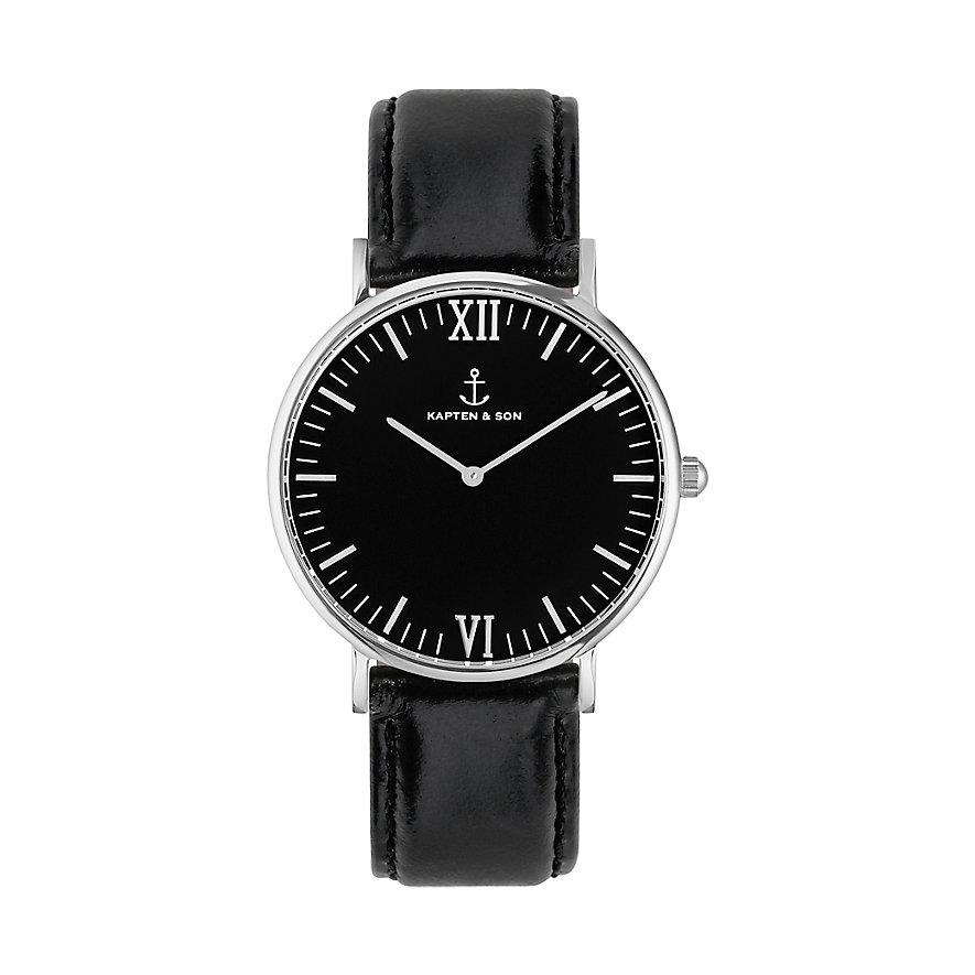Kapten & Son Uhr Campina Black Silver Leather CA03B0199D11A