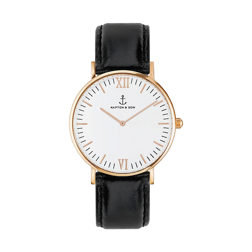 Kapten & Son Uhr Campina White RG Black Leather CA00A0199D11A