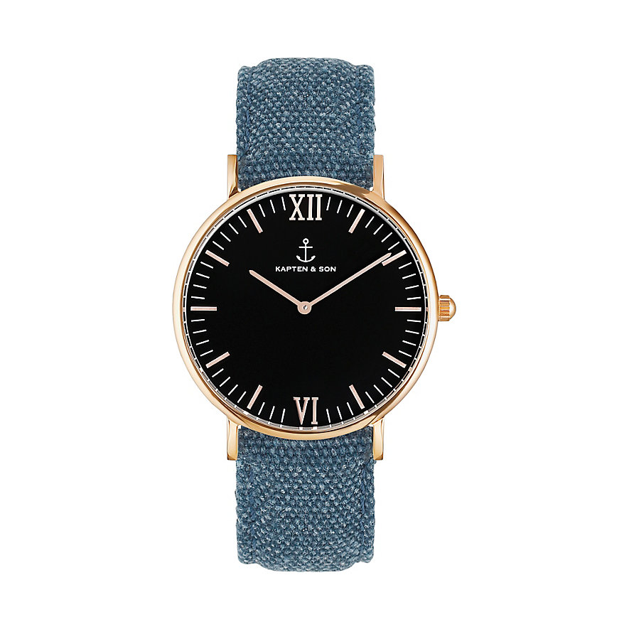 Kapten & Son Uhr Campina/Campus Black RG Blue Canvas CA00B0608D11A