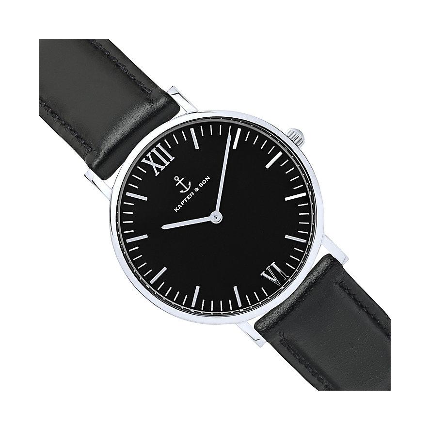 Kapten & Son Uhr Campina/Campus Black Silver Leather CA03B0199D11A