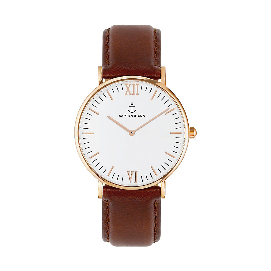 Kapten & Son Uhr Campina/Campus White RG Brown Leather CA00A0103D11A