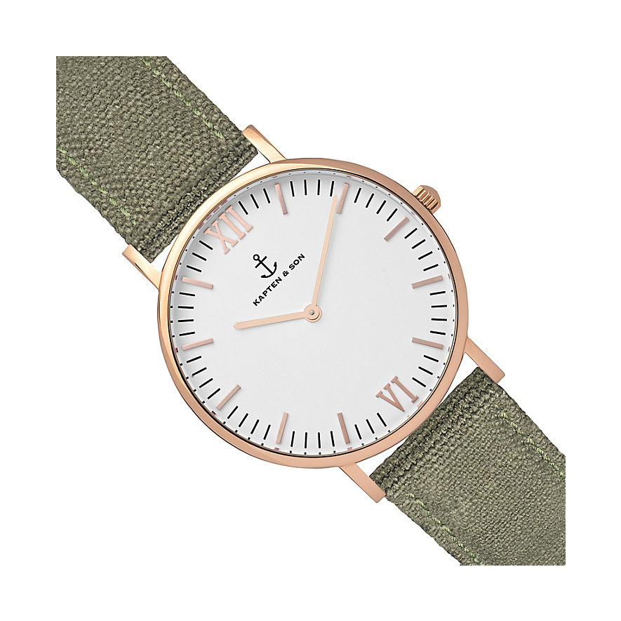 Kapten & Son Uhr Campina/Campus White RG Olive Canvas CB00A0606F11A