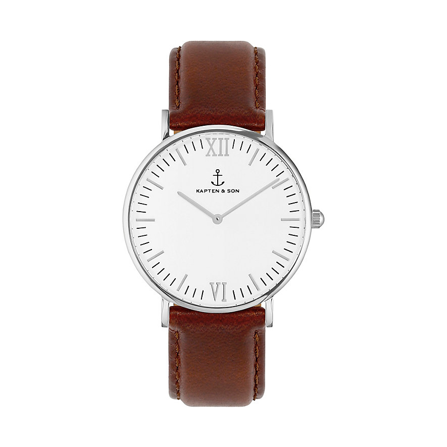 Kapten & Son Uhr Campina/Campus White Silver Brown Leather CB03A0103F11A