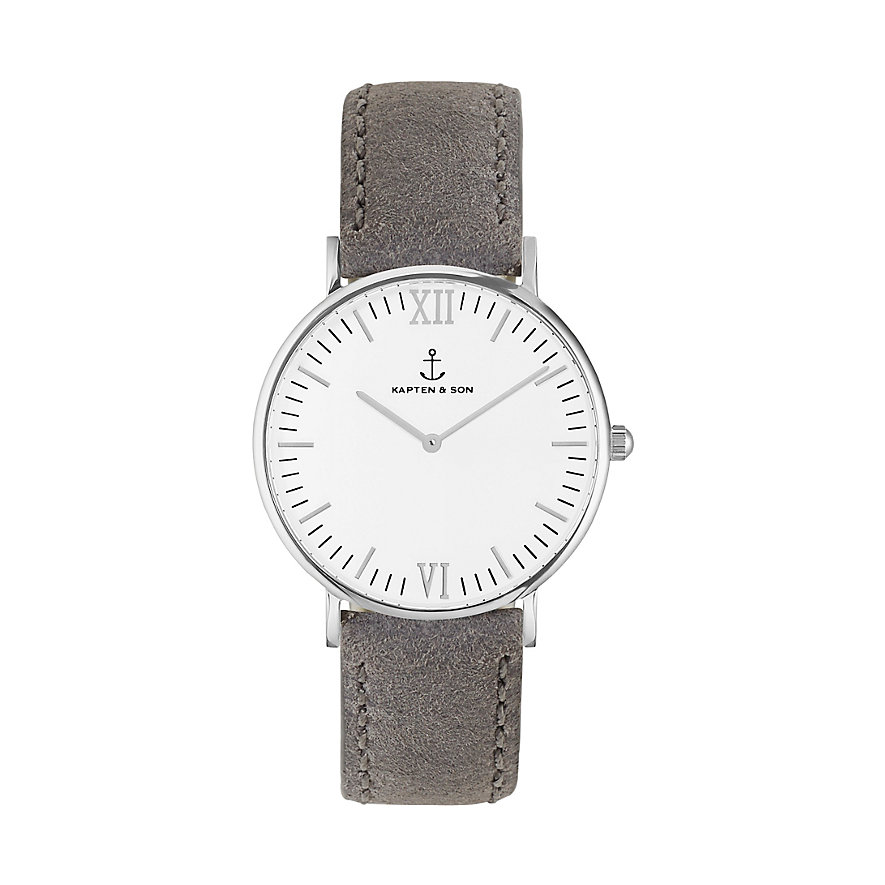 Kapten & Son Uhr Campina/Campus White Silver Grey Vintage CA03A0202D11A