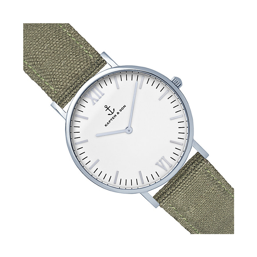 Kapten & Son Uhr Campina/Campus White Silver Olive Canvas CB03A0606F11A